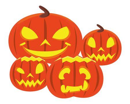Halloween-Kürbisse mit Gesichtern Icons Vector Illustration Design