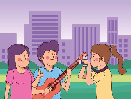 Teenagers friends playing the guitar and taking photos with camera in the city park, urban cityscape scenery background ,vector illustration graphic design.