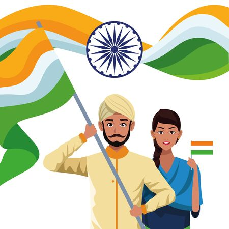 Indian ethnic people with traditional wear with flag and wheel emblems ,vector illustration.