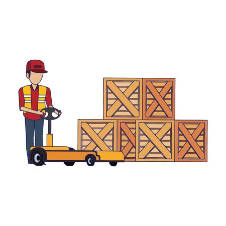 Warehouse worker pushing handtruck to wooden boxes vector illustration