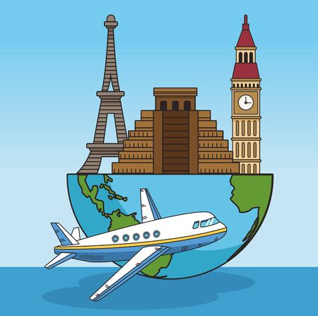 airplane and half of earth planet with world monuments over blue background, colorful design. vector illustration