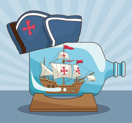old caravel in a bottle with capitain hat over blue striped background, colorful design. vector illustration