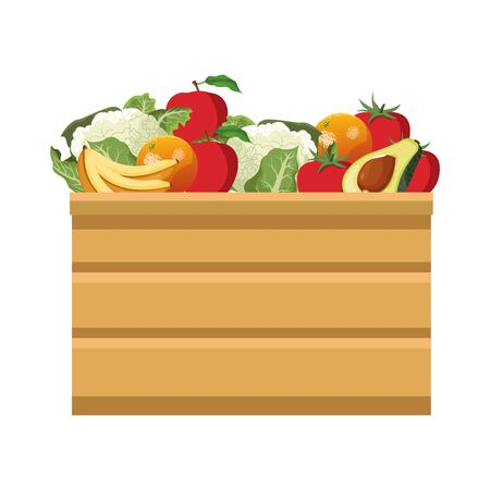 wooden box with fruits icon over white background, colorful design. vector illustration Ilustracja