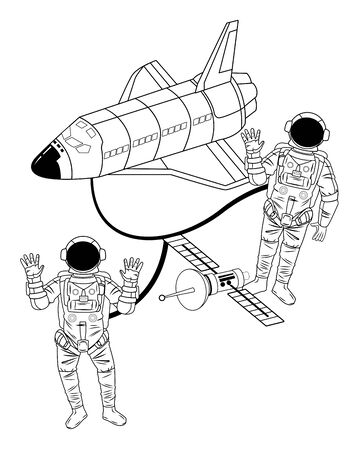 space exploration satellite, space shuttle and astronaut saying hi and hands up in black and white icon cartoon vector illustration graphic design