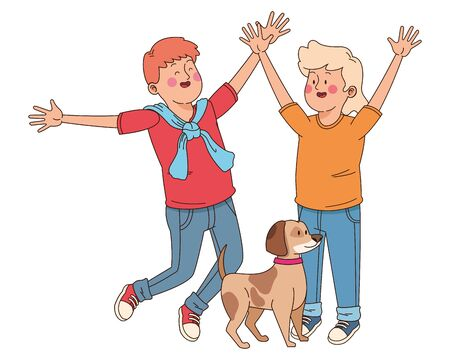 Teenagers friends boy and girl playing with dog ,vector illustration graphic design.