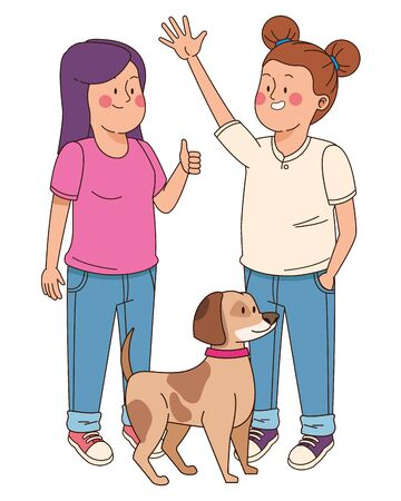 teenagers friends smiling and walking the dog isolated,vector illustration graphic design. Иллюстрация