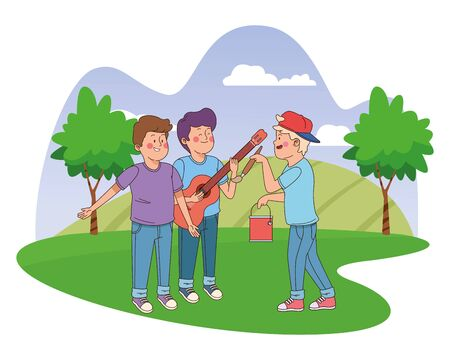 Teenagers friends playing guitar and paintig with brush and paint bucket in the nature park with trees, landscape scenery ,vector illustration graphic design.