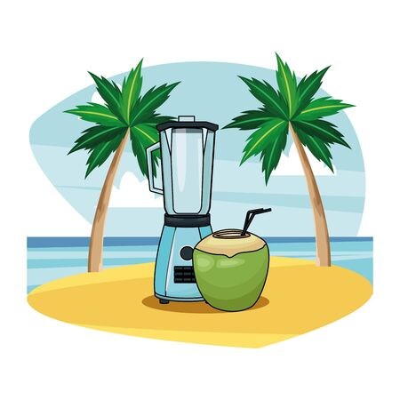 Coconut cocktail and blender drink recipe on beach scenery background vector illustration graphic design