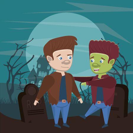 halloween dark scene with disguised people vector illustration design
