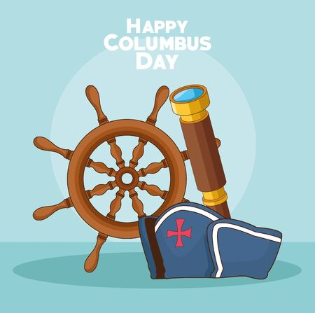 ship rudder with spyglass and capitain hat over blue background. Happy Columbus day colorful design, vector illustration