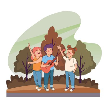 Teenagers friends playing guitar while singing and dancing in the nature park with trees, landscape scenery ,vector illustration graphic design.