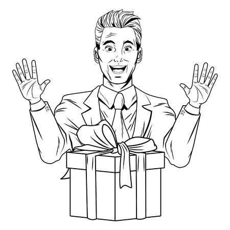man avatar with gift box wearing suit profile picture cartoon character portrait in black and white vector illustration graphic design