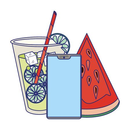 Summer juice and watermelon with smartphone cartoon vector illustration graphic design