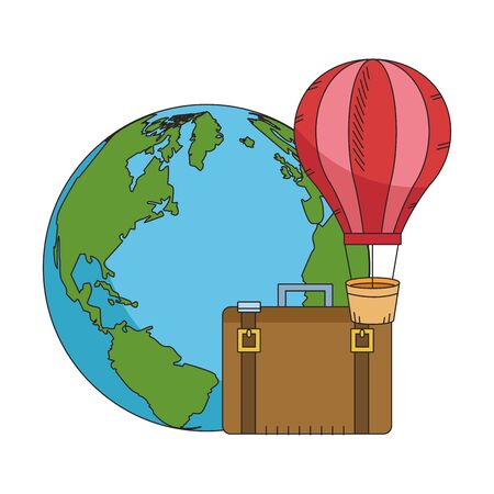 hot air balloon with Earth planet and travel suitcase icon over white background, colorful design. vector illustration Illusztráció