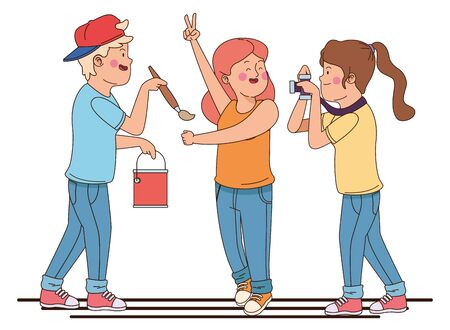 teenager friends with paint bucket and brush taking photo with camera isolated,vector illustration graphic design.
