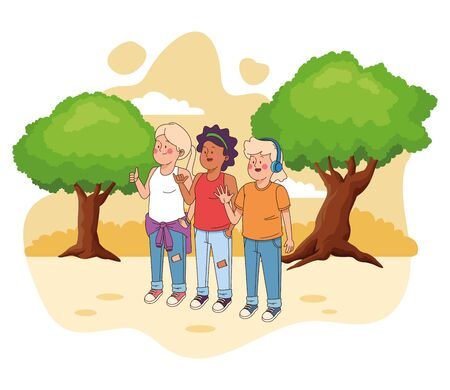 Teenagers friends smiling and greeting with cool clothes and accesories in nature park scenery ,vector illustration.
