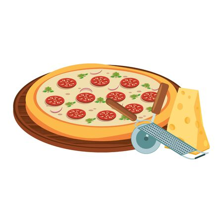italian round pizza and cheese piece over white background, vector illustration