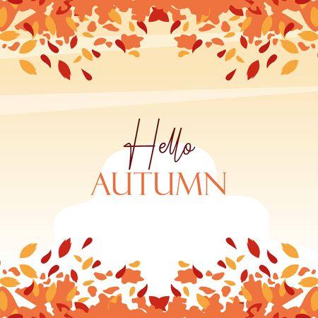 hello autumn season frame with leafs vector illustration design