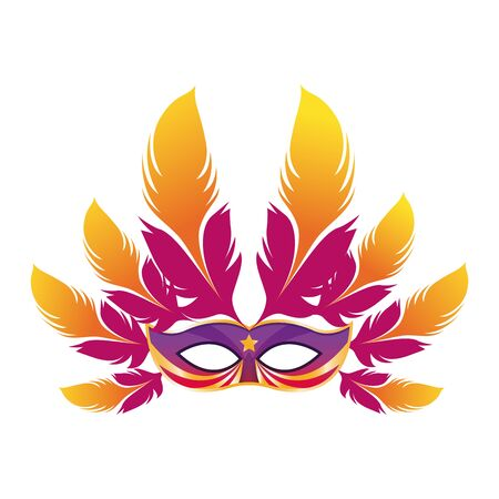 Masquerade mask with colorful feathers over white background, colorful design. vector illustration Illusztráció
