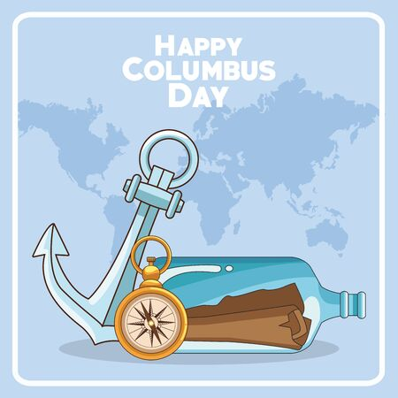 mail in a bottle with anchor and compass over blue background. Happy Columbus day colorful design, vector illustration Çizim