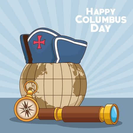 vintage earth globe with spyglass and compass over blue background. Happy Columbus day colorful design, vector illustration