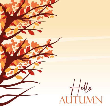 hello autumn season with tree branches scene vector illustration design