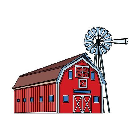 wooden farm barn and wind water pump icon over white background, colorful design. vector illustration