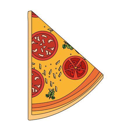 italian pizza slice icon over white background, vector illustration