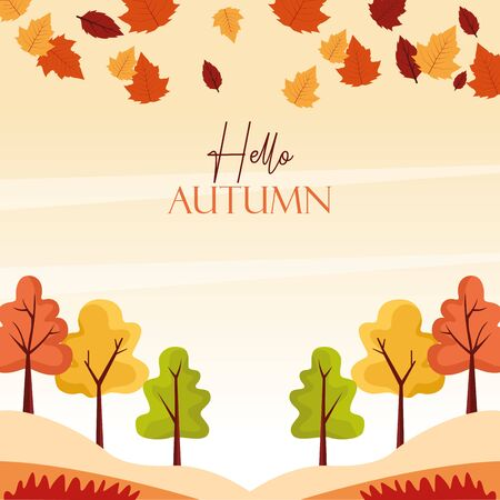 hello autumn season forest scene vector illustration design