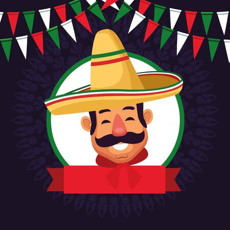 mexican man face with moustache and mexican hat profile picture avatar cartoon character portrait in round icon with ribbon banner and pendants vector illustration graphic design Çizim