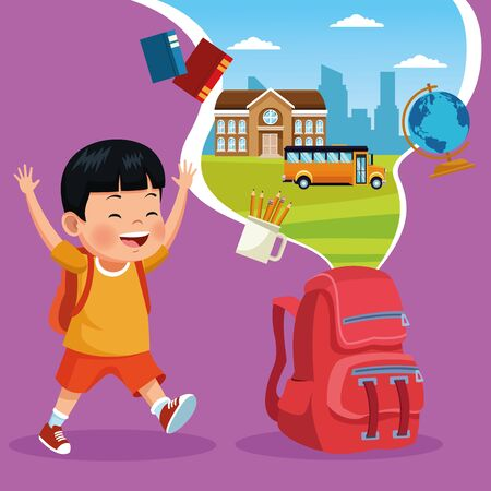 Cute student boy with backpack and school and classroom cartoons on colorful background, back to school concept. vector illustration graphic design