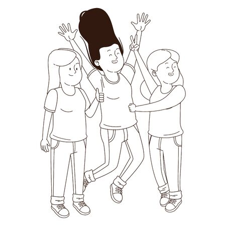 Teenagers friends girls jumping and smiling ,vector illustration graphic design.