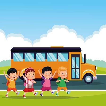 Students kids with backpack in the school bus at sunny day, back to school. vector illustration graphic design Ilustração