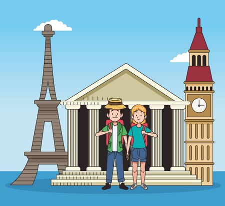 cartoon tourists couple and iconic monuments of the world over blue background, colorful design. vector illustration