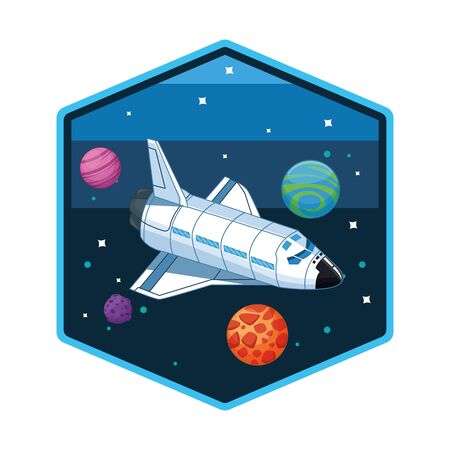 Spaceship flying in the space passiny by planets hexagonal frame vector illustration graphic design