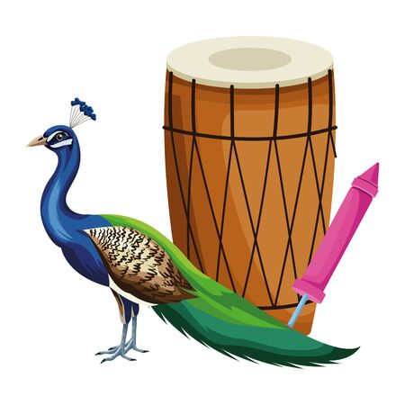drum mridangam with firecracker and peacock icon cartoon isolated vector illustration graphic design