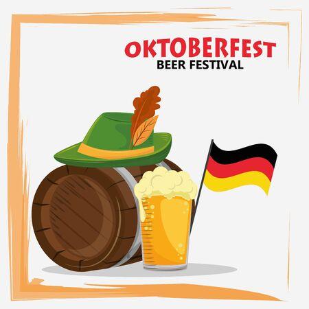 oktoberfest celebration poster with beer and hat vector illustration design