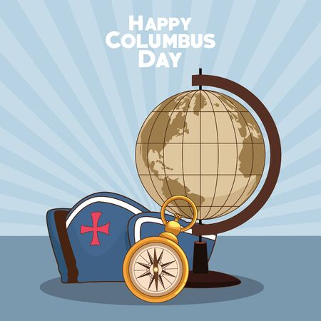 vintage earth globe with capitain hat and compass over blue background. Happy Columbus day colorful design, vector illustration