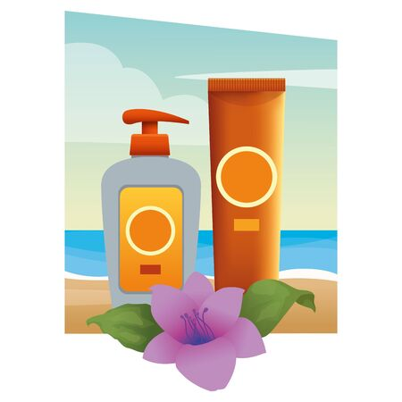 Sun bronzer bottles with tropical flowers cosmetics products on beach scenery background ,vector illustration graphic design. Stockfoto - 132200137