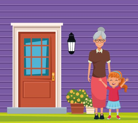 Family grandmother taking care of granddaughter on house door and wall background scenery ,vector illustration graphic design.