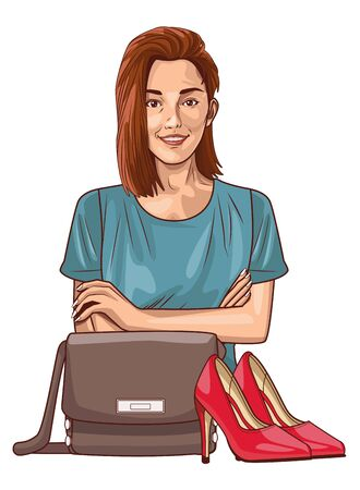 Pop art beautiful woman smiling with casual clothes cartoon with high heels and fashion bag ,vector illustration graphic design.