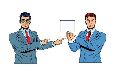 Pop art businessmen presentation holding showing blank sign and pointing vector illustration graphic design