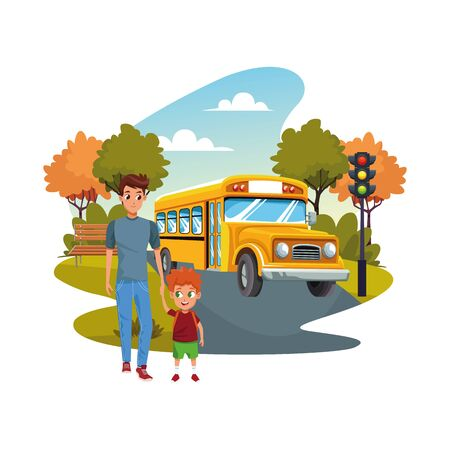 back to school with happiness and father son and school bus vector illustration graphic design Ilustração