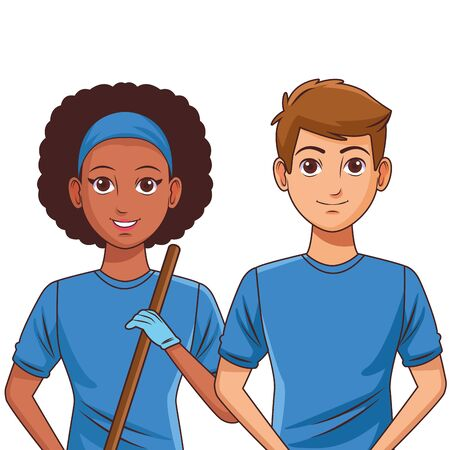 cleaning service person afroamerican woman with bandana and a stick profile picture avatar cartoon character portrait vector illustration graphic design