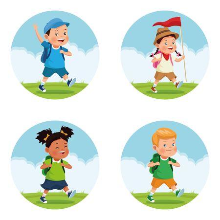 Satz von Kindern auf Schulexkursion zu Fuß in runder Ikone im Freien Avatar-Cartoon-Charakter