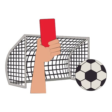 Soccer football sport game referee hands holding card and ball with goal vector illustration graphic design Çizim