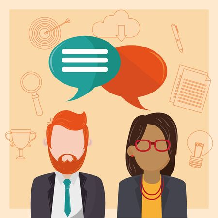 People talking with blank speech bubbles on social media icons background ,vector illustration.