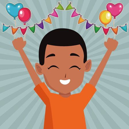 afroamerican boy having fun and playing with pennants and balloons on striped background ,vector illustration graphic design.