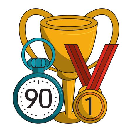 Soccer trophy cup with first place medal and timer tournament vector illustration graphic design Illustration