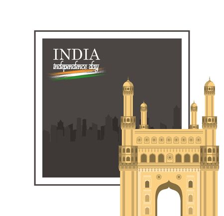 India independence day card with patriotic monuments and emblems, poster holiday. Gateway of India vector illustration  イラスト・ベクター素材
